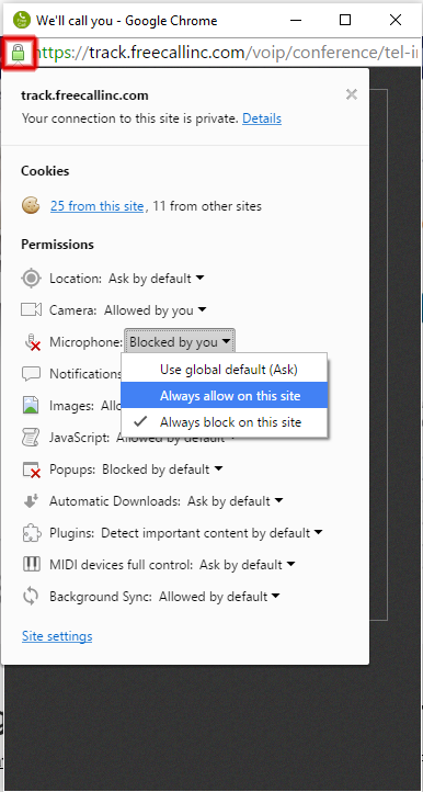 allow microphone in chrome